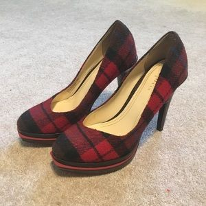 Cole Haan Red and Black Plaid Christmas Pumps